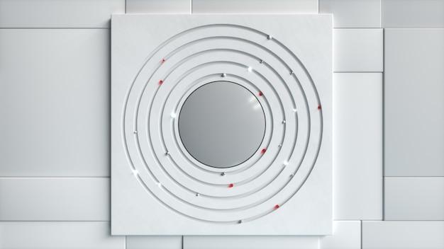 Abstrato base de negócios. diferentes esferas se movem em um círculo no centro. conceito tecnológico. ilustração 3d