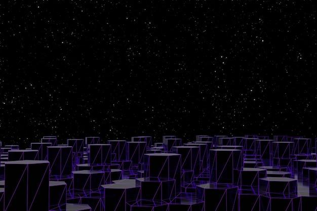 Abstrato base de poli baixa futurista de hexágonos pretos com grade roxa luminosa. renderização 3d preta minimalista. cidade à noite do conceito e céu estrelado.