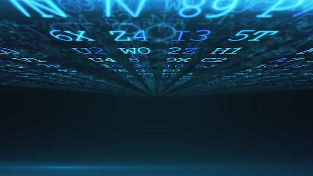 Abstrato base digital. código da máquina. código hexadecimal. os dígitos e as letras aleatórios coloriram a ilustração 3d.