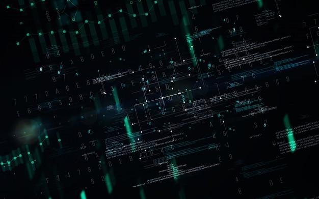 Abstrato base digital. conceito futurista da tecnologia da informação de grande volume de dados. cadeia de bloco