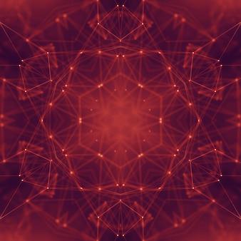 Abstrato base digital conectando pontos e linhas. grade de dados geométricos de tecnologia da informação em um fundo vermelho escuro