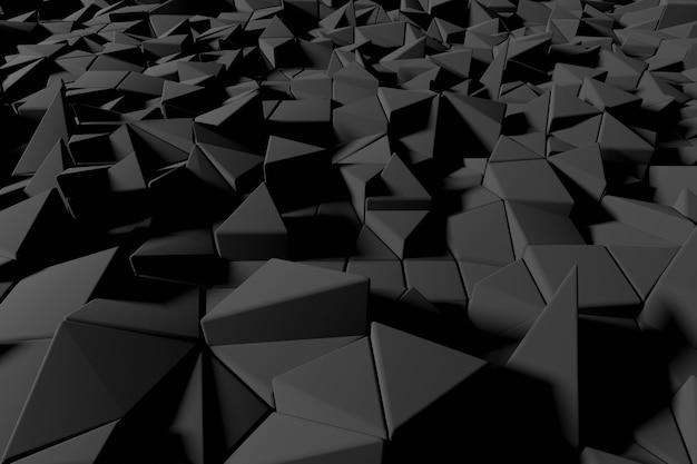 Abstrato base futurista de baixo poli de triângulos pretos. renderização 3d preta minimalista.