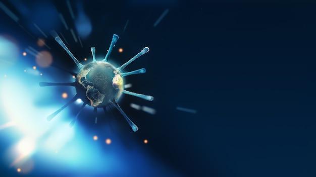 Abstrato base médico com close-up da molécula de vírus e o mundo dentro