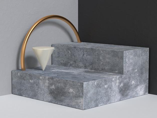 Abstrato base renderização 3d parede preta cinza etapas concretas pódio