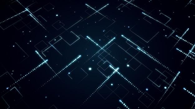 Abstrato base tecnológico com ilustração 3d de listras e partículas
