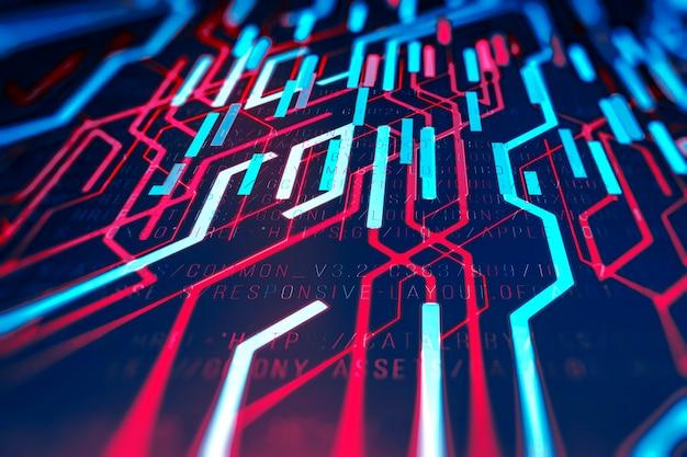 Abstrato base tecnológico em cores vibrantes com um código digital.