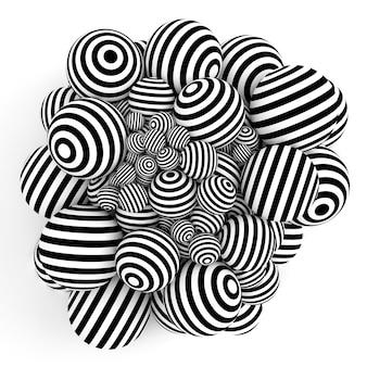 Abstrato branco com bolas e linhas pretas. ilustração 3d