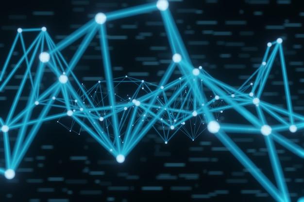 Abstrato brilhante plexo azul com formas geométricas, linhas e pontos, renderização 3d