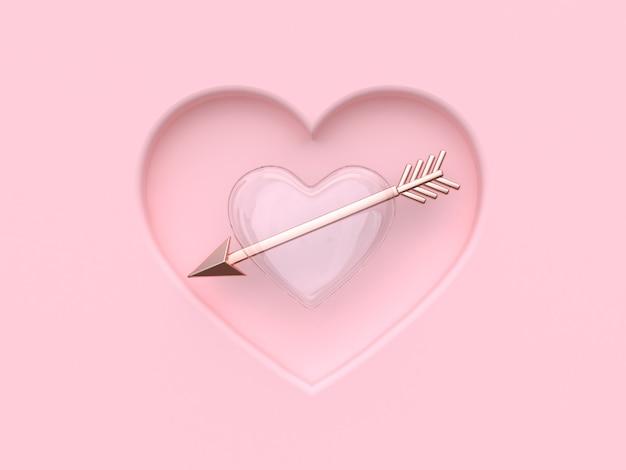 Abstrato claro coração rosa metálico seta valentine renderização em 3d