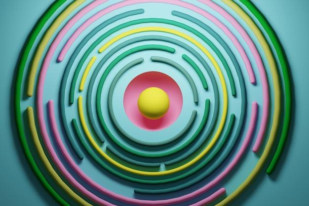 Abstrato colorido com formas circulares amarelas verdes rosa vibrantes