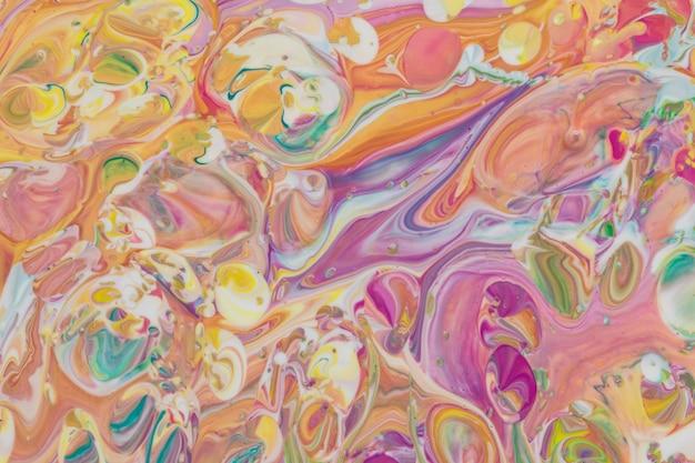 Abstrato colorido tinta acrílica closeup