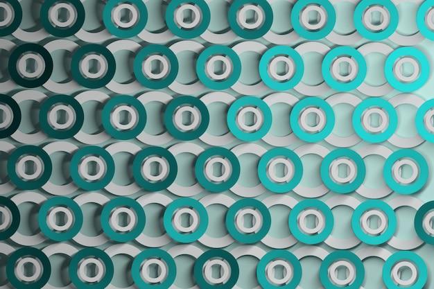 Abstrato com camadas de repetição de círculos em azul suave para ciano e branco