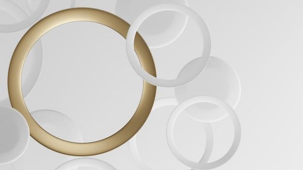Abstrato com círculos de anel de ouro e branco. renderização em 3d