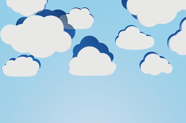Abstrato com diferentes nuvens planas com sombras sobre o céu azul. layout criativo. copiar espaço, renderização 3d