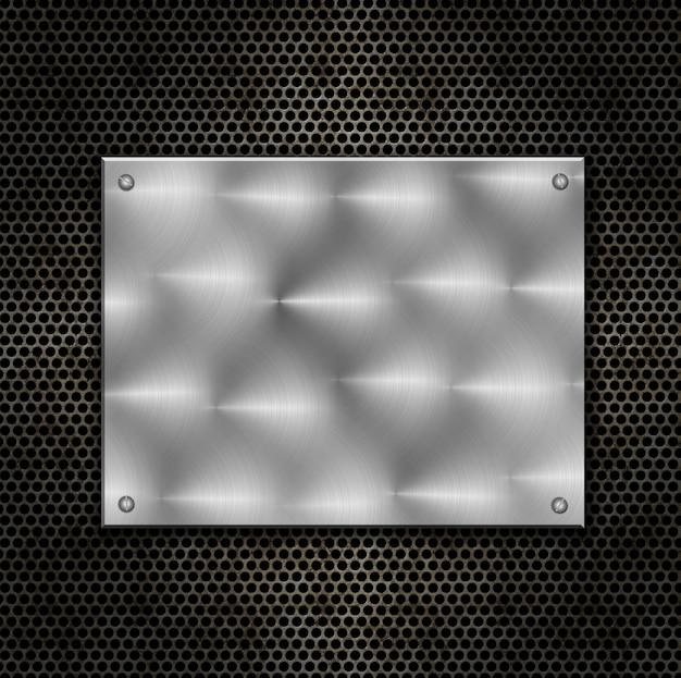 Abstrato com placa de metal brilhante em um grunge