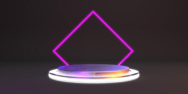 Abstrato com pódio de forma de metal e néon para o produto. conceito mínimo brilhante.