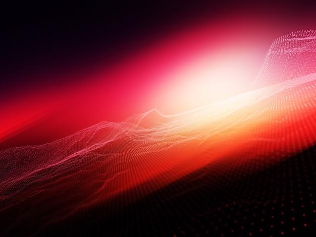 Abstrato com pontos de partículas fluindo contra fundo desfocado brilhante