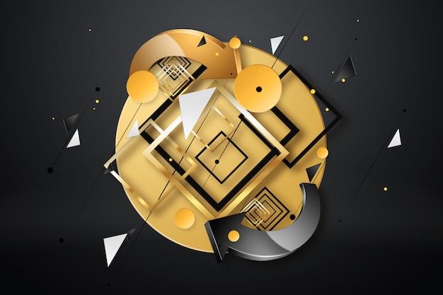 Abstrato, computador, cor de ouro preto