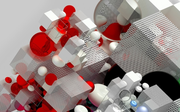 Abstrato d arte jogo de quebra-cabeça cubo ou caixa em vista isométrica com base em figuras geométricas pequenas e grandes como o cubo em uma esfera de estrutura de arame ou toro de bola na cor vermelha azul e branca