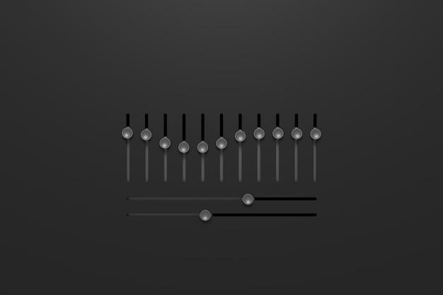 Abstrato da placa do equalizador. renderização em 3d.
