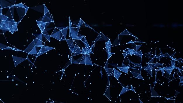 Abstrato de polígono com pontos e linhas de conexão