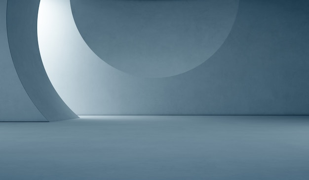 Abstrato design de interiores da sala de exposições moderna com piso vazio e muro de concreto