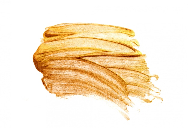 Abstrato dourado manchas escova acrílico no estilo grunge em branco