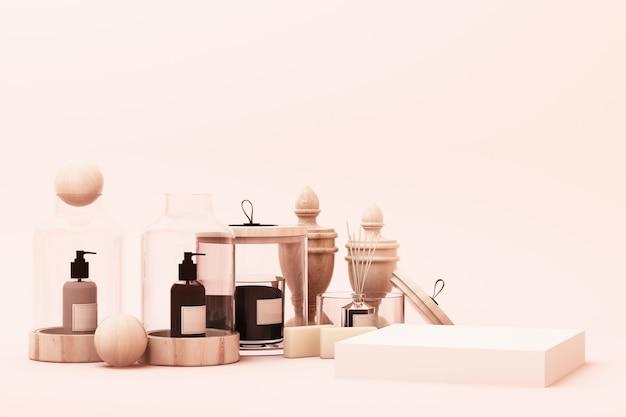 Abstrato geométrico forma pastel rosa cor cena mínima com decoração e prop, design para cosméticos ou produto pódio de exibição 3d render