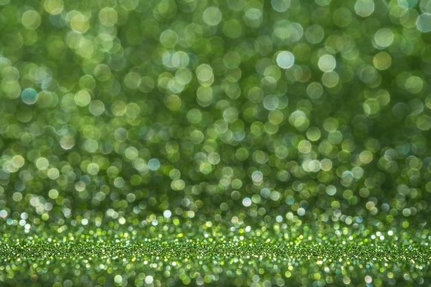 Abstrato luz verde cintilante brilho parede e piso perspectiva fundo estúdio com desfoque bokeh