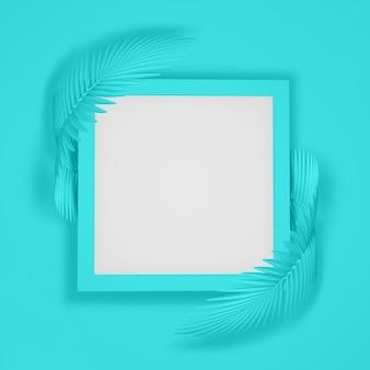 Abstrato moderno de uma moldura quadrada, rodeada por duas folhas de palmeira macias arredondadas. ilustração 3d. renderização 3d