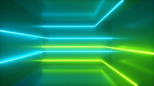 Abstrato, movendo-se raios de néon, linhas luminosas dentro da sala, luz ultravioleta fluorescente, espectro verde azul, ilustração 3d