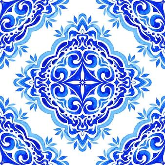 Abstrato ornamental azul ilustração inverno mandala arte fundo padrão sem emenda