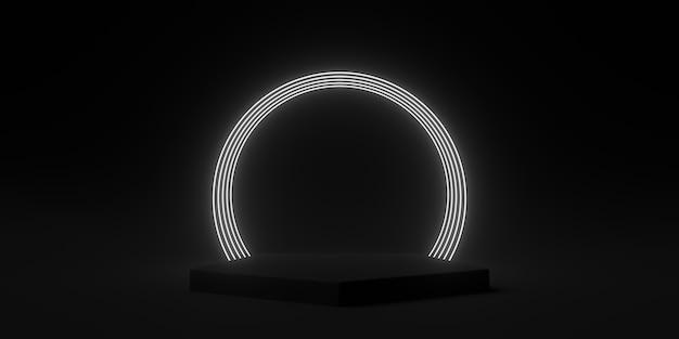 Abstrato preto, círculo néon luz pódio de volta