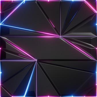 Abstrato preto facetado com linhas de néon brilhantes azuis rosa