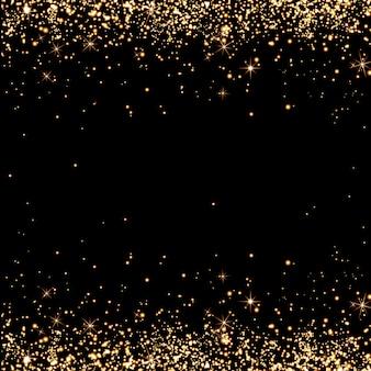Abstrato preto, spray de champanhe, natal, confete, brilho, chuva dourada cintilante, feriado