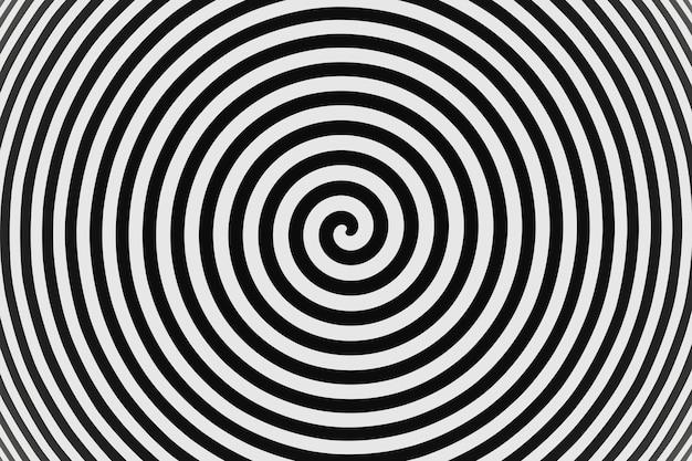 Abstrato psicodélico torcido círculos hypnos com fundo preto e branco renderização 3d