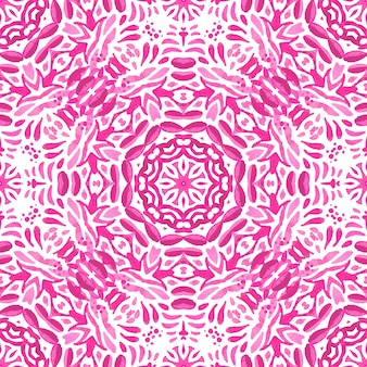 Abstrato rosa medalhão magenta e branco azulejo sem costura padrão ornamental. padrão de azulejo aquarela