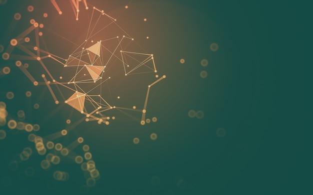 Abstrato. tecnologia de moléculas com formas poligonais, conectando pontos e linhas