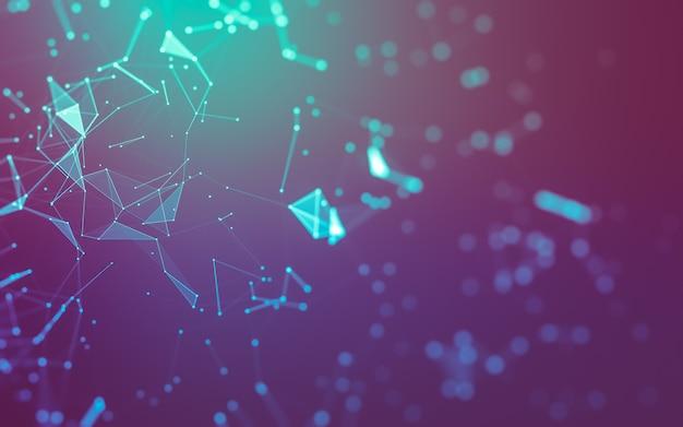 Abstrato. tecnologia de moléculas com formas poligonais, conectando pontos e linhas.