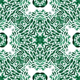 Abstrato verde e branco desenhado à mão telha padrão de pintura em aquarela ornamental sem emenda.