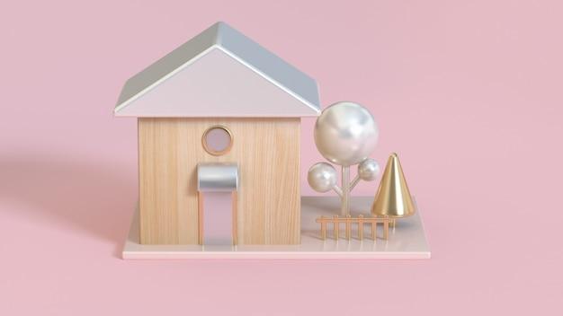 Abstratos, 3d, casa madeira, telhados, branca, pérola, metálico, e, ouro, árvore, 3d, fazendo