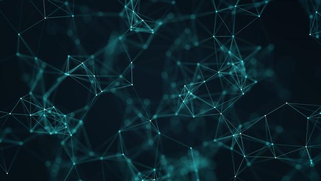 Abstratos, conectado, pontos, e, linhas, ligado, experiência azul