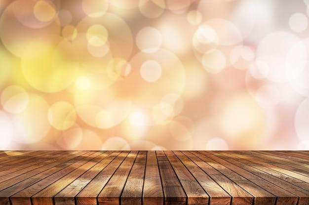 Abstratos, luz, bokeh, fundo, com, madeira, topo tabela