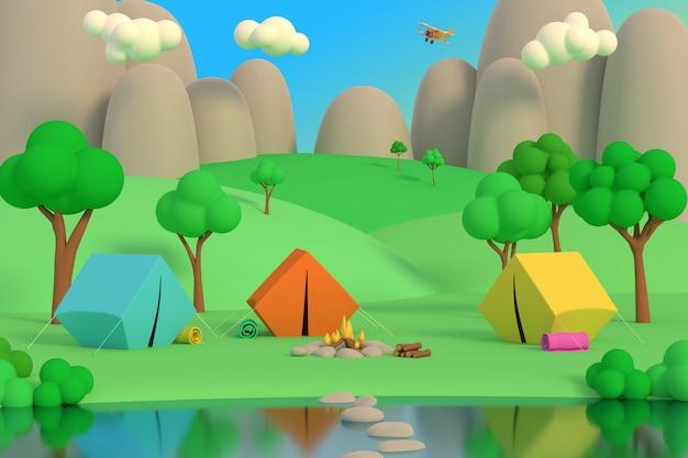 Acampamento de verão na floresta à tarde em um fundo de montanhas 3d render