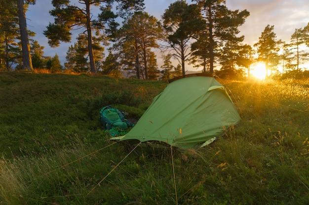 Acampar na floresta durante o pôr do sol ou nascer do sol