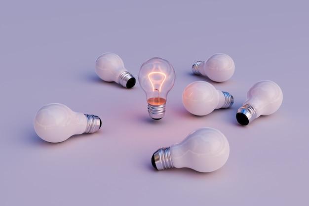 Ação de liderança de lâmpada, renderização de ilustração 3d