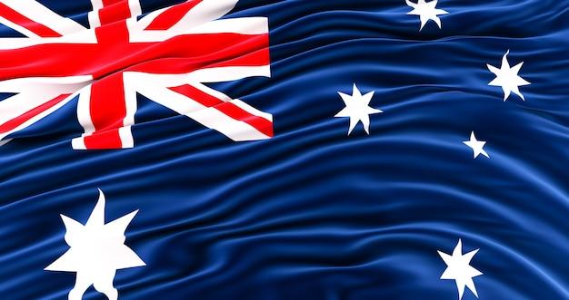 Acenando a colorida bandeira nacional da austrália, incrível bandeira da austrália
