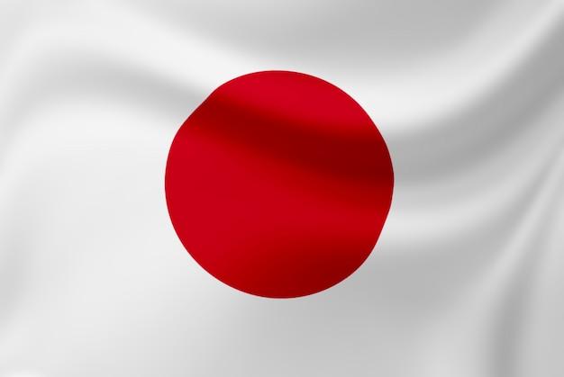 Acenando da bandeira do japão.