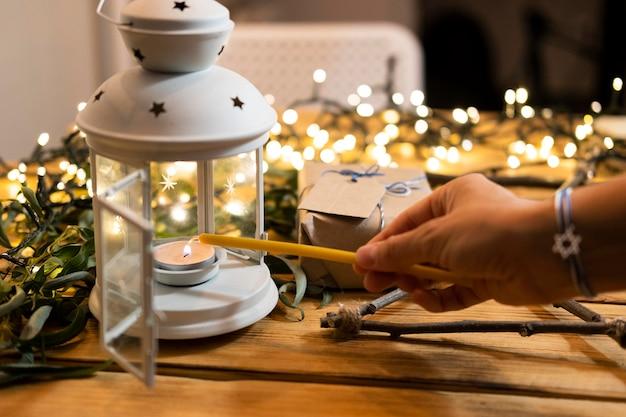 Acenda a vela feliz hanukkah