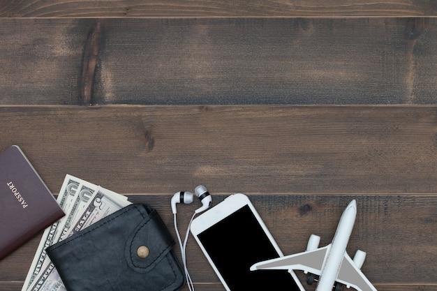 Acessório de fundo de viagens com espaço de texto livre